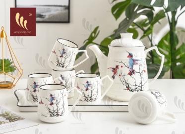 Bộ tách trà bình hoa cao có khay hoa