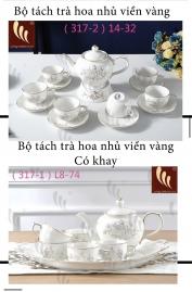 Bộ tách trà hoa nhủ viền vàng