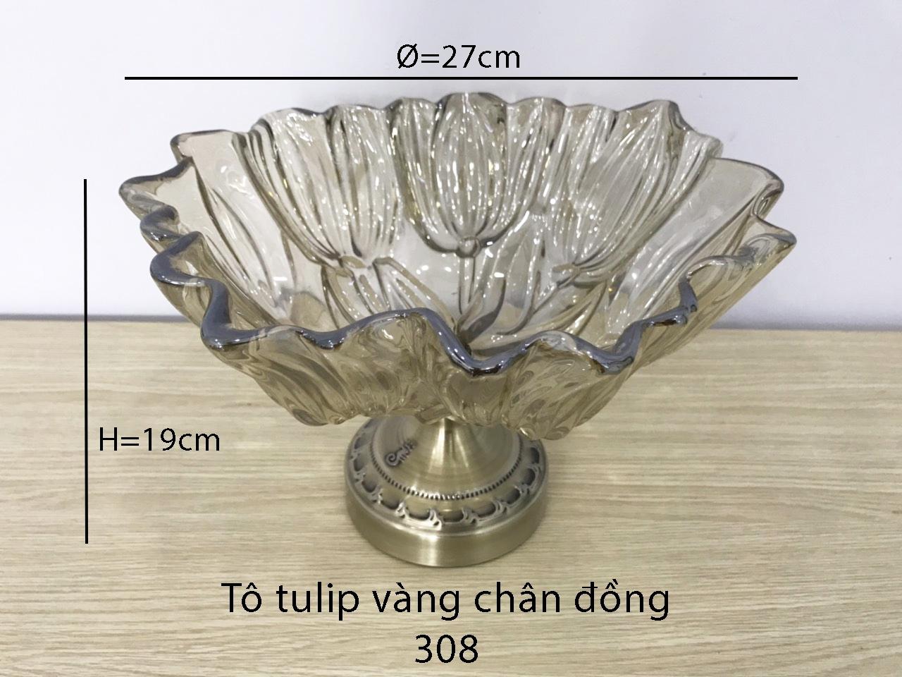Tô tulip vàng chân đồng
